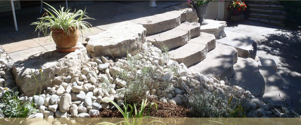 steps with landscaping
