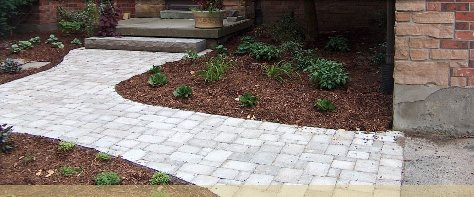 brick path and landscaping